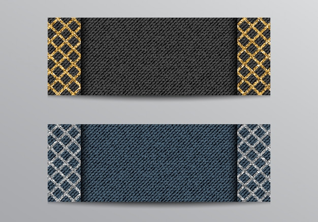 Denim black and blue banner with glittering lattice
