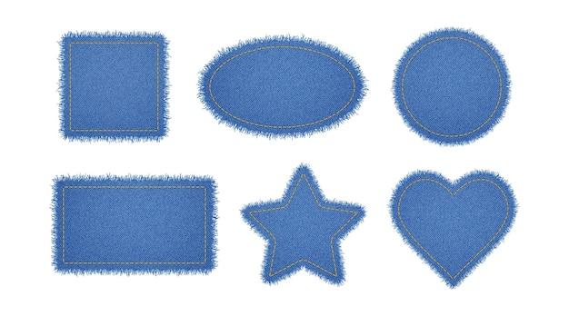 Джинсовый круг, сердце, прямоугольник, эллипс и звезды со стежками Premium векторы