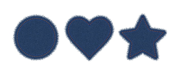 Denim circle, heart and star shapes with stitches. torn jeans patch with seam.