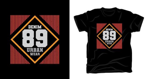 Деним восемьдесят девять типографика дизайн футболки