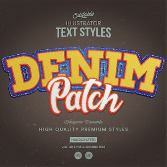 Denim fabric text style
