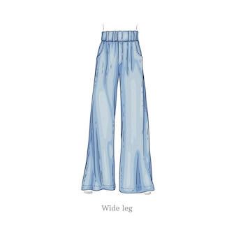 Denim female pants sketch