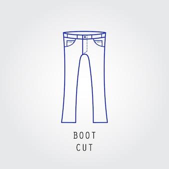 デニムフィットアイコン。ズボンとジーンズのブーツカットの種類。線ベクトルアイコンのシルエット。
