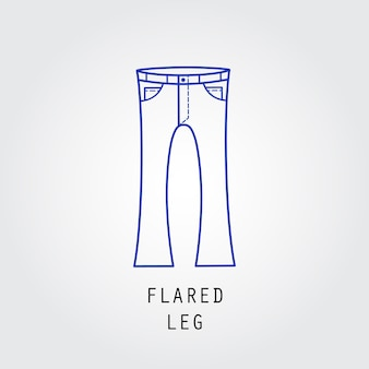 デニムフィットアイコン。ズボンとジーンズの種類フレアレッグ。線ベクトルアイコンのシルエット。