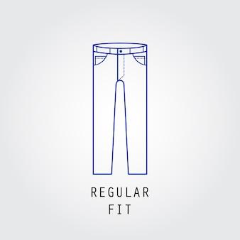 デニムフィットアイコン。ズボンとジーンズの種類レギュラーフィット。線ベクトルアイコンのシルエット。