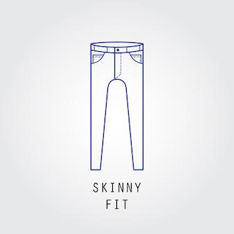 デニムフィットアイコン。ズボンとジーンズのタイプスキニーフィット。線ベクトルアイコンのシルエット。