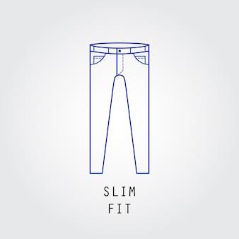 デニムフィットアイコン。ズボンとジーンズのタイプスリムフィット。線ベクトルアイコンのシルエット。
