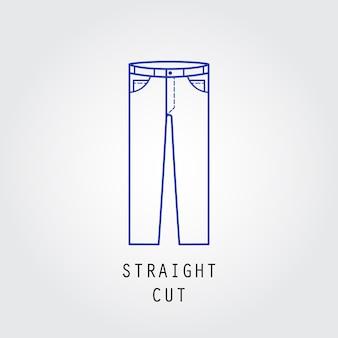 デニムフィットアイコン。ズボンとジーンズのタイプストレートカット。線ベクトルアイコンのシルエット。