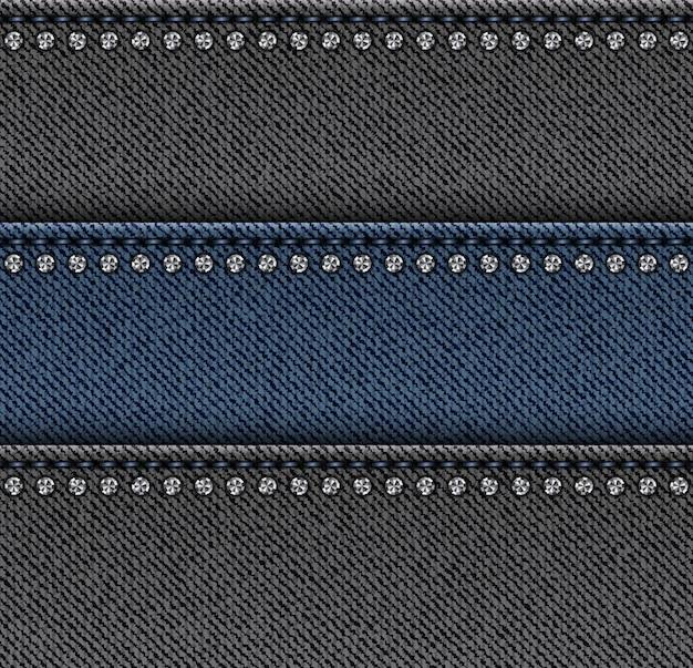 デニムの横に黒と青のストライプにステッチとシルバーのスパンコールが付いています。