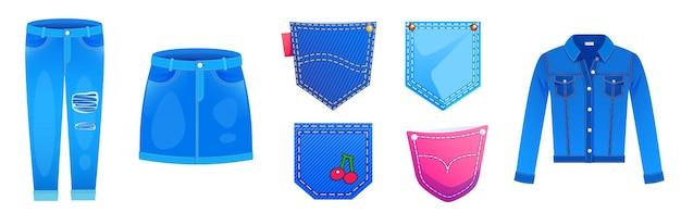 Giacca di jeans, minigonna, pantaloni e tasche applicate con bottoni e ricami