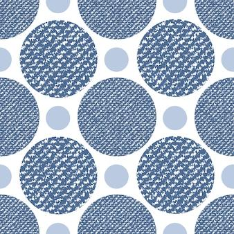 Джинсовые джинсы текстуры бесшовные шаблон с кругами. модная печать для текстильной ткани или упаковки