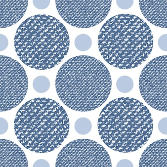 Denim jeans texture seamless pattern with circles. fashion print for textile fabric or wrapping