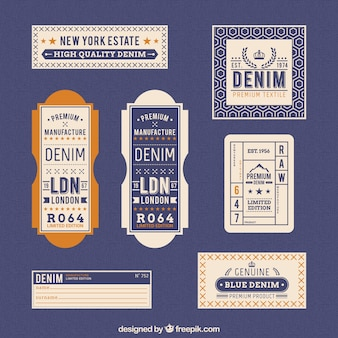 Denim labels in retro style