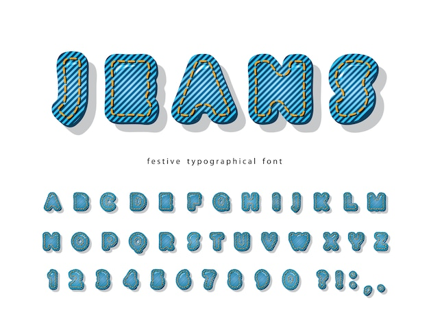Denim modern font. jeans texture decorative alphabet.
