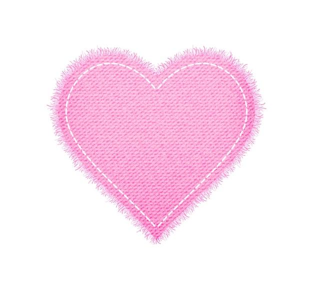 Джинсовая форма розового сердца со швом Premium векторы