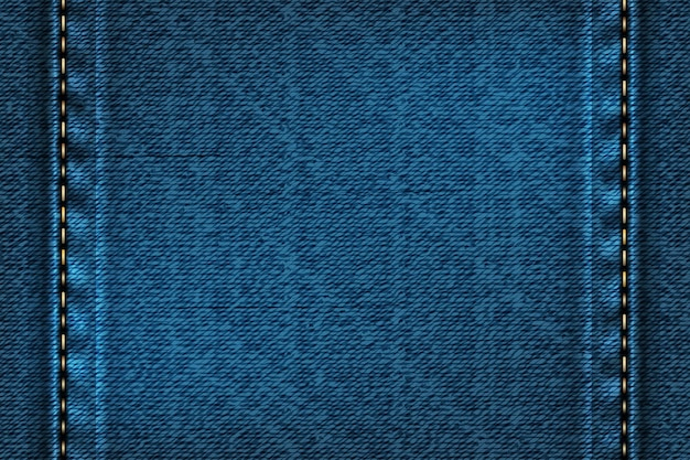Denim rectangular background with seam.  illustration of blue texture.
