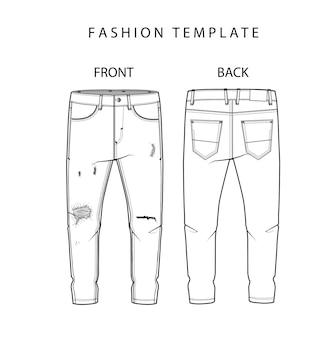 Denim ripped jeans drawing flat schkas