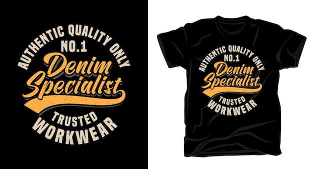 Джинсовая профессиональная типографика дизайн футболки