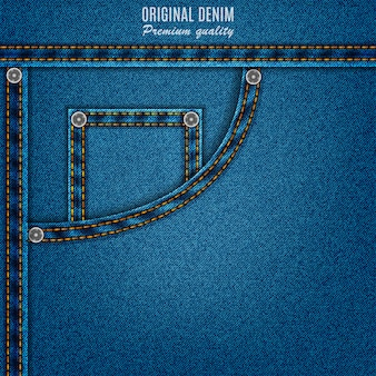 Denim texture blue color with pocket and rivets, jeans background
