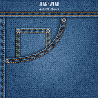 Denim texture blue color with pocket and stitch. jeans background for your design