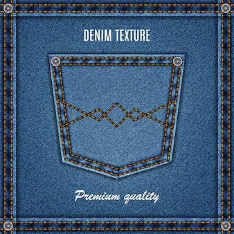 Denim texture of jeans background blue color with pocket for your design