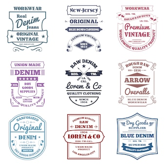 Denim typography emblems