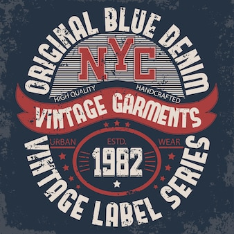 Denim typography, new york t-shirt graphics, artwork stamp print. vintage wear tee print
