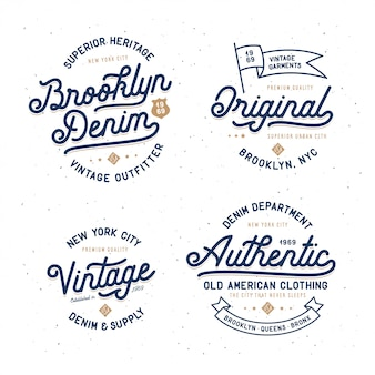 Denim typography t-shirt set