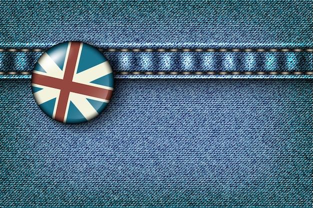 영국 국기가 달린 데님.