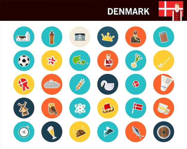 Denmark concept flat icons
