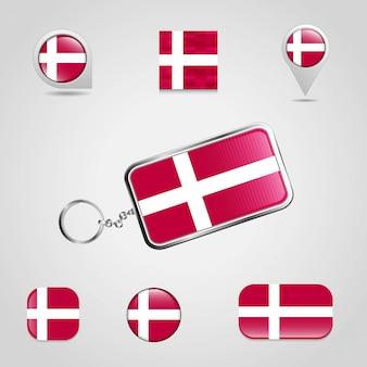 Дания страна флаг на брелках и карта булавки разных стилей