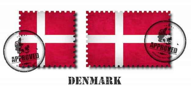 Denmark or danish flag pattern postage stamp