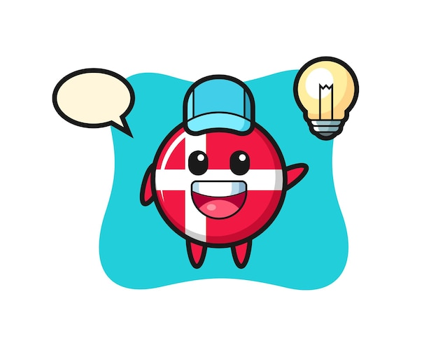 Denmark flag badge character cartoon getting the idea, cute style design for t shirt, sticker, logo element