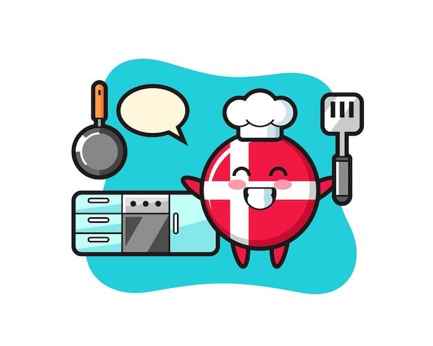 シェフが料理しているデンマークの旗バッジのキャラクターイラスト、tシャツ、ステッカー、ロゴ要素のかわいいスタイルのデザイン
