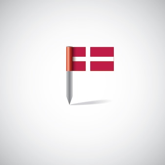 덴마크 국기 핀, 흰색 배경에 고립