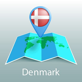Denmark flag world map in pin with name of country on gray background