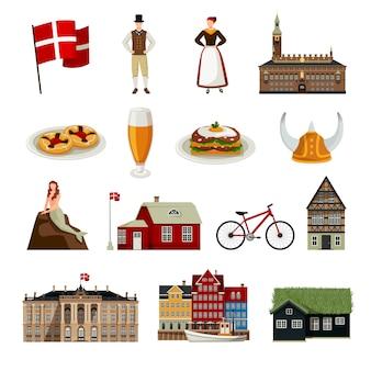 Denmark flat style icons set