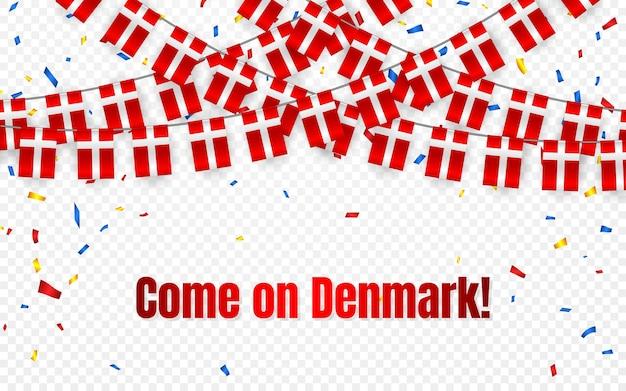 透明な背景に紙吹雪とデンマークの花輪の旗、お祝いテンプレートバナーの旗布を掛ける、