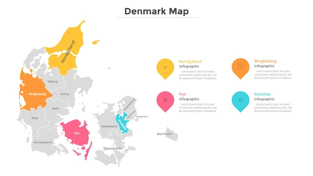 Denmark map divided into administrative regions. territory of country with regional borders, geographical division. infographic design template. vector illustration for touristic guide or brochure.