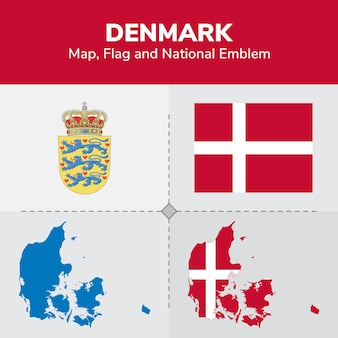 Denmark map, flag and national emblem
