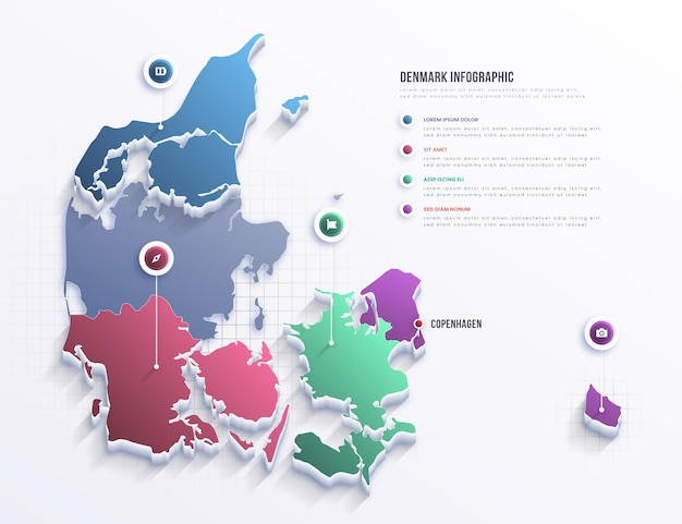 Дания карта инфографики