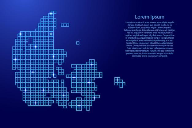 덴마크는 파란색 모자이크 구조 사각형과 빛나는 별에서 실루엣을 매핑합니다. 벡터 일러스트 레이 션.