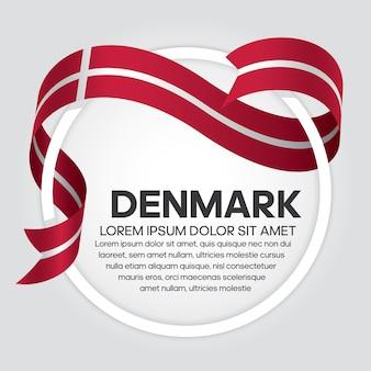 Denmark ribbon flag, vector illustration on a white background