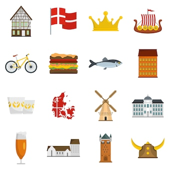 Denmark travel icons set