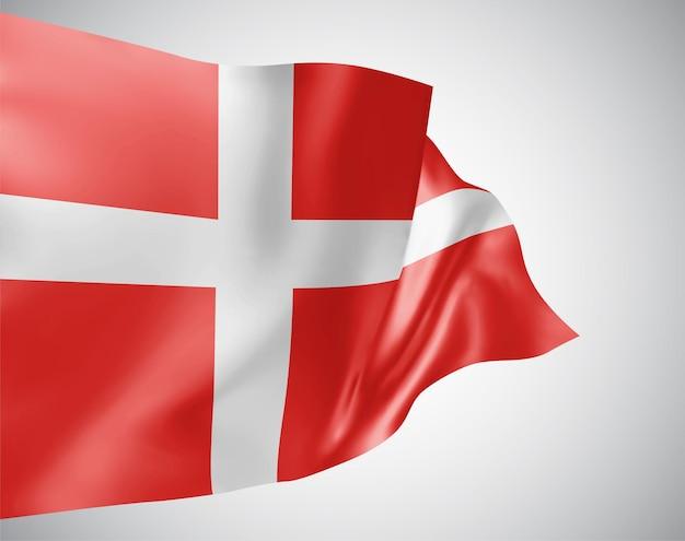 デンマーク、白い背景の上の風に手を振る波と曲がりのベクトルフラグ。