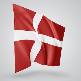 Denmark, vector flag with waves and bends waving in the wind on a white background.