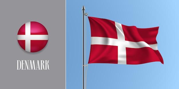 Denmark waving flag on flagpole and round icon vector illustration. realistic 3d mockup with design of danish flag and circle button