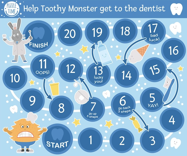 Dental adventure board game for children with cute characters. educational tooth medicine boardgame. teeth care activity. mouth hygiene learning worksheet. help toothy monster get to the dentist.