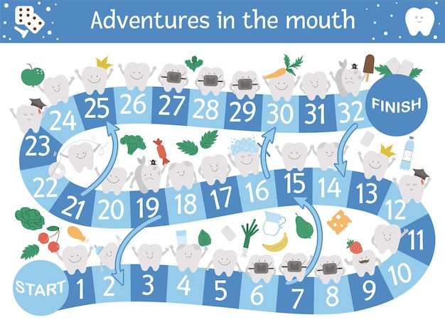Dental adventure board game for children with cute characters. educational tooth medicine boardgame. teeth care activity. mouth hygiene learning worksheet.