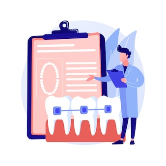 Стоматологические брекеты абстрактные концепции векторные иллюстрации. стоматологическая процедура, метод коррекции брекетов, лечение скученных зубов, ортодонтическая проблема, выравниватель и ретейнер, абстрактная метафора брекетов.